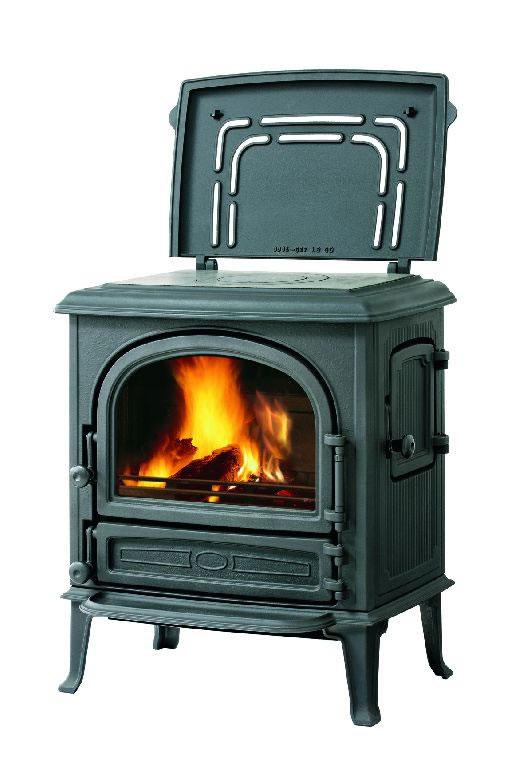 ofen k lteanlagenbau kurtz leda guss kaminofen antigua k mit warmhalteplatte schwarz. Black Bedroom Furniture Sets. Home Design Ideas